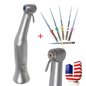 Dental 20 1 Reduction Implant Contra Angle Handpiece Push Button W Files Cicada