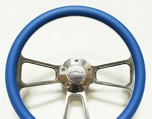 Blue Steering Wheel 14 Billet Muscle Style Wheel With Chevy Horn Adapter Kit