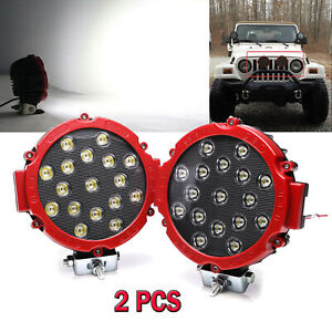 2x Offroad 7 Inch 51w Led Work Lights Spot Jeep Truck Atv Backup Driving Round