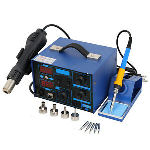 2in1 862d smd Soldering Iron Hot Air Rework Station Led Display W 4 Nozzle 700w