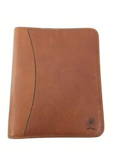 Vintage Tommy Hilfiger Brown Leather Day Planner 3 Ring 11 X 9