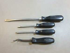 Mixed Lot Of 4 Snap On Screwdrivers Ssdp42 Sdd4 Ssd8 Cp38 Free Shipping