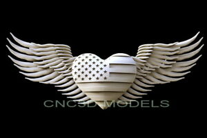 3d Model Stl For Cnc Router Artcam Aspire Usa Flag Love Heart America D281