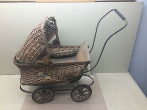 Antique Vintage Wicker Baby Doll Stroller Carriage Planter