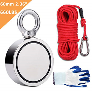 Fishing Magnets Double Sided 660lbs With Rope 65ft Carabiner Glove Large Strong