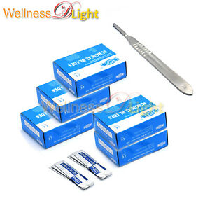 Lot Of 500 Pcs Sterile Surgical Blades 11 With 1 Free Scalpel Knife Handle 3