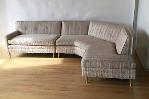 Vintage Mid Century Modern Angled 2 Piece Sectional Sofa Mcm 1950s 1960s