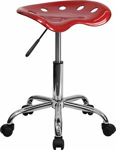 Flash Furniture Vibrant Tractor Seat And Chrome Stool Wine Red Lf214awnred