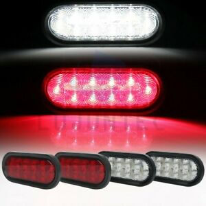 2pcs 6 21 Led White 6x Red Tail Signal For Truck Trailer Side Marker Light