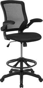 New Heavy Duty Mesh Back Office Drafting Clerk Bar Stool Chair With Flip Up Arms