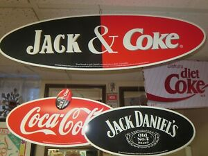HARD TO FIND COCA COLA SIGN JACK & COKE 30 x 9 DOUBLED SIDED