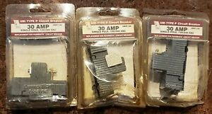 3 Conneticut Electric Ubip130 Pushmatic One Pole 30 Amp Circuit Breakers Nos