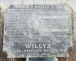 Original Wwii Data Plate Army Trailer Bantam T3 Willys Mbt Gpw Willys Mb Jeep