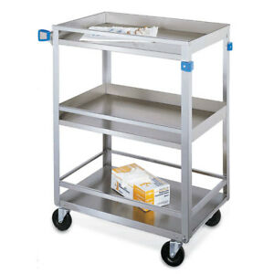 Standard Duty Stainless Steel Carts 3 Shelves With Guard Rails 27 5 l X 16