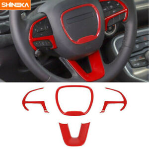 4x Red Steering Wheel Cover Trim Bezels For Dodge Challenger Charger 2015 2019