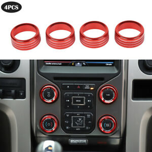 Air Conditioning Audio Switch Knob Trim Ring Cover For Ford F150 2013 2014 Red