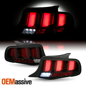 For 2010 2012 Ford Mustang Red Tube Black Tail Lights W Led Sequential Signal