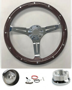 60 69 Chevrolet C10 Pick Up 15 Steering Wheel Dark Mahogany Wood Chrome Spokes