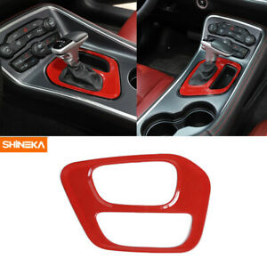 Inner Gear Shift Panel Decoration Cover Trim For Dodge Challenger 2015 2019 Red