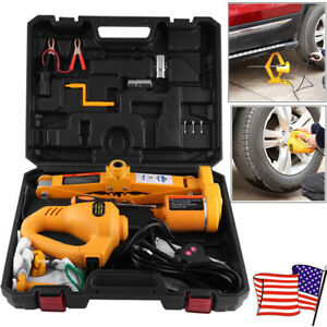 12v 3ton Capacity Auto Car Electric Scissor Jack Lifting Impact Wrench Tool Kit