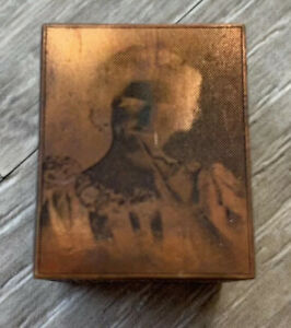 Vintage Copper Wood Block Print Photo Negative Estate Find