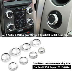 Silver Ac Radio Switch Release Mirrors 4wd Knob Ring Trim For Ford F150 2013 14