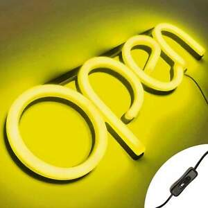 Led Neon Open Sign Light For Business With On Off Switch Yellow