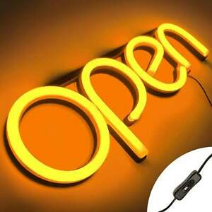 Led Neon Open Sign Light For Business With On Off Switch Orange
