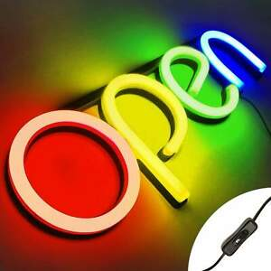 Led Neon Open Sign Light For Business With On Off Switch Red yellow green blue