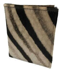 Zebra Cape Buffalo Hide Folio Planner Notebook Desk Pad Made In Usa Brn