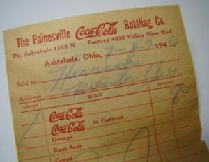 Antique Coca Cola 1940 Bottling Company Ashtabula Ohio Painesville Invoice Paper