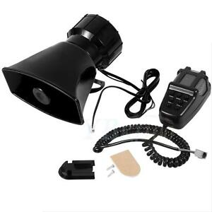 Car Warning Alarm Police Fire Siren 7 Sound Horn Pa Mic System Speaker Set