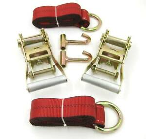 6pc Lasso Strap 2 Ratchet J Finger Hook Tow Truck Wheel Lift Tie Down Red