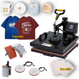 8 In1 Heat Press Machine 360 swing Away T shirt Hat Mug Printing Press 15x15