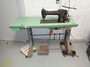 Antique Industrial Singer Sewing Machine 241 2 On Industrial Table Works Great