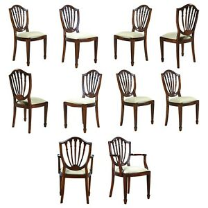 Ndrac018z Niagara Furniture Set Of 10 Solid Mahogany Shield Back Chairs