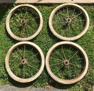 Vintage Lot 4 Metal Spoke Wheels Carriage Buggy Soap Box Derby Hard Rubber Tires