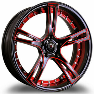 20 Staggered Marquee Wheel M3247 Black Red Milled Fits 2015 Lexus Gs350 F Sport