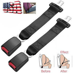 2x 14 Car Seat Seatbelt Safety Belt Extender Extension Adjustable Buckle Black