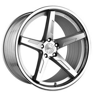 4 20 Staggered Vertini Wheels Rfs1 7 Silver Machined With Chrome Lip B6