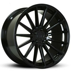 4 22 Staggered Road Force Wheels Rf15 Gloss Black Rims B11
