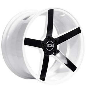 4 20 Staggered Str Wheels 607 White With Black Spoke Rims b54