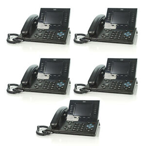 Lot Of 5 Cisco Cp 8961 10 line Unified Ip Voip Black Desktop Phone Cp 8961 c k9