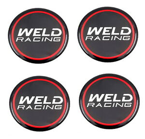 Set Of 4 Weld Racing 601 3010 Emblem Sticker 50mm Dia For Wheel Rim Center Caps