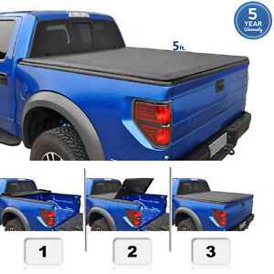 5 Ft For 2016 2020 Tacoma Soft Tri Fold Truck Bed Cover With Track Sys