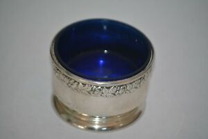 Wallace Sterling Open Salt Cellar With Cobalt Blue Glass 79