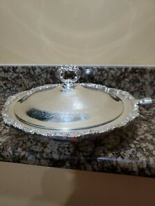 Vintage And Rare Silver Plated Serving Pan Dish Platter W Lid Cover