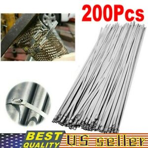 200pcs Stainless Steel 12 Exhaust Wrap Coated Metal Locking Cable Zip Ties Lot