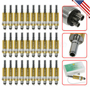 30pcs Gold Dental Low Speed Handpiece E type Air Motor 4 Hole Ex203c Micromotor