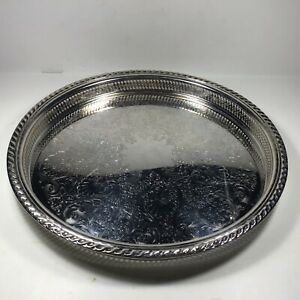 Vintage Wm Rogers Silver Plate Serving Tray Platter 15 Inch Round Ornate Rimmed